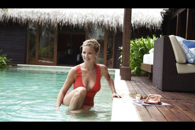 Détente au Shangri-La Villingili Resort & Spa pour l'actrice, avant une rentrée chargée.