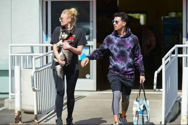 Sophie Turner et Joe Jonas avec leur chien à Los Angeles en février 2020.