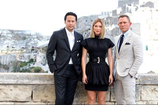 Le réalisateur Cary Joji Fukunaga, Léa Seydoux et Daniel Craig le 9 septembre 2019 à Matera, en Italie