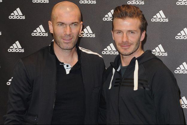 Zinedine Zidane et David Beckham à Paris en février 2013.