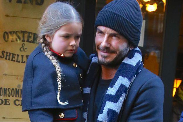 David Beckham et sa fille Harper Seven en février 2016 à New York.