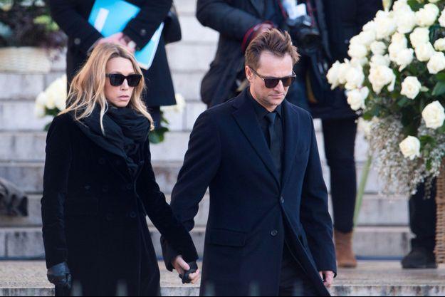 Laura Smet et David Hallyday aux funérailles de Johnny Hallyday à la Madeleine, à Paris le 9 décembre 2017