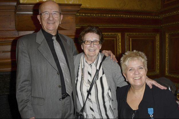 Mimie Mathy avec ses parents, Marcel et Roberte, en 2013