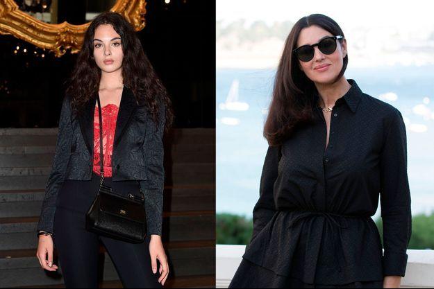 Deva Cassel au défilé Dolce & Gabbana en juin 2019, et sa mère Monica Bellucci à Dinard en 2018.