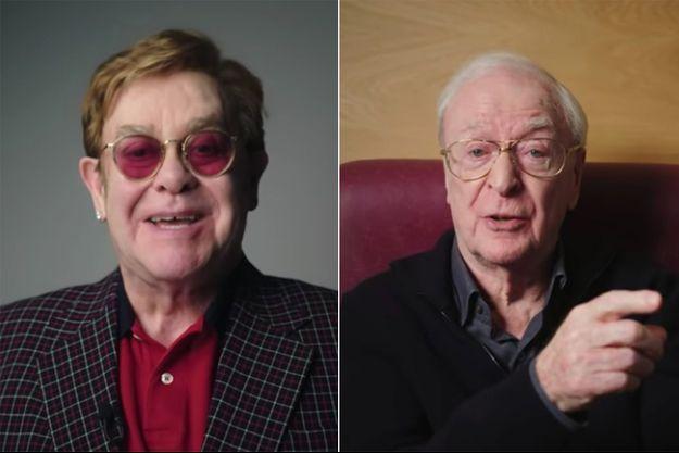 Elton Jonn et Michael Caine dans un spot diffusé en février 2021 par la NHS, le service de santé britannique
