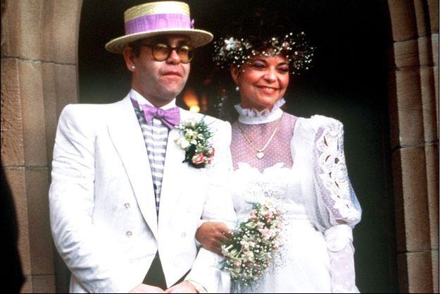 Elton John et Renate Blauel lors de leur mariage en 1984.