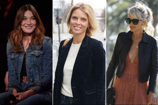 Carla Bruni en avril 2021, Sylvie Tellier, en janvier dernier et Laeticia Hallyday, en novembre 2019 (montage).