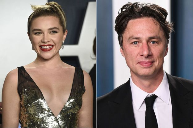 Florence Pugh et Zach Braff à l'after-party des Oscars en février 2020