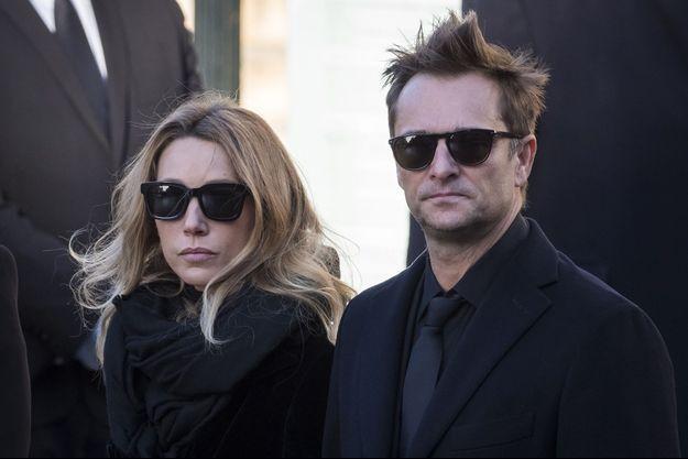 David Hallyday et Laura Smet à l'église de la Madeleine à Paris, le 9 décembre 2017