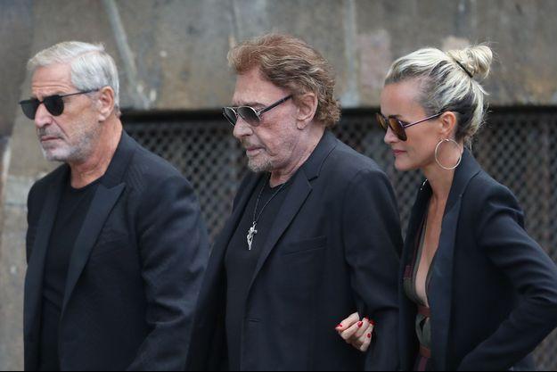 Jean-Claude Darmon, Johnny Hallyday et sa femme Laeticia, le 1er septembre 2017 à Paris.