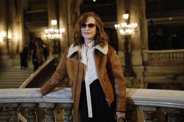 Isabelle Huppert, le 2 mars 2020, à l'Opéra Garnier, pour le défilé McCartney.