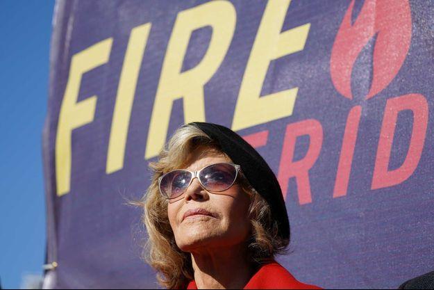 Jane Fonda à Washington durant un rassemblement pour le climat, le 18 octobre dernier.