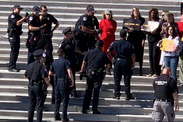 Jane Fonda arrêtée à Washington vendredi 11 octobre.
