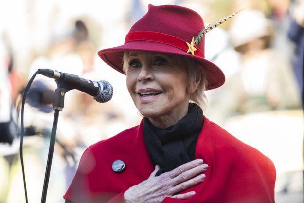 Le 7 février 2020, à Los Angeles. Jane Fonda lors d'une manifestation des Fire Drill Fridays.