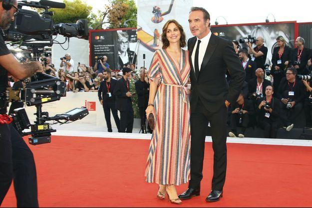 Nathalie Pechalat et Jean Dujardin à Venise, le 30 août 2019.