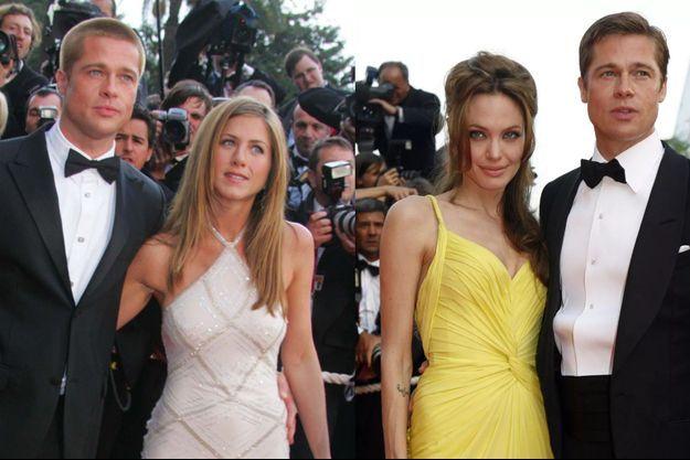 Sur la Croisette, le couple « Bradifer » rayonne ce 13 mai 2004. En coulisses pourtant, il vacille. Les médias américains bruissent de ragots sur la complicité croissante entre Brad Pitt et sa partenaire Angelina Jolie sur le tournage de «Mr. & Mrs. Smith ». A droite, deux ans plus tard, le décor est le même, pas le casting. C'est Angelina qui tient maintenant le premier rôle auprès de Mr. Pitt.