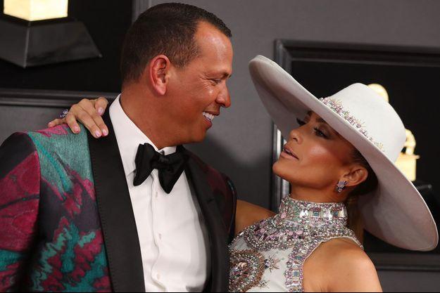 Jennifer Lopez et Alex Rodriguez aux Grammy Awards en février 2019.
