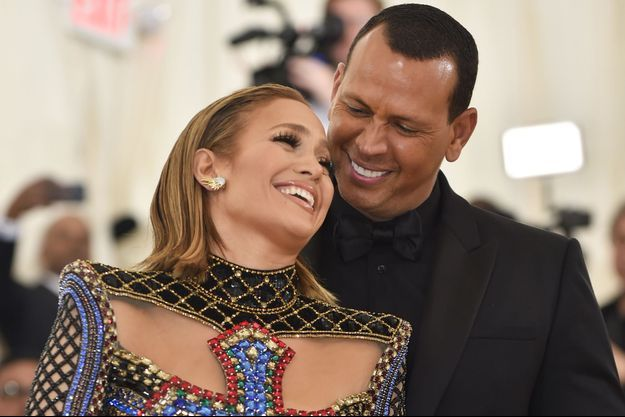 Jennifer Lopez et Alex Rodriguez en mai 2018 au gala du MET à New York.