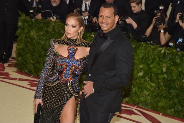 La chanteuse Jennifer Lopez et le joueur de baseball Alex Rodriguez à New York en mai 2018.