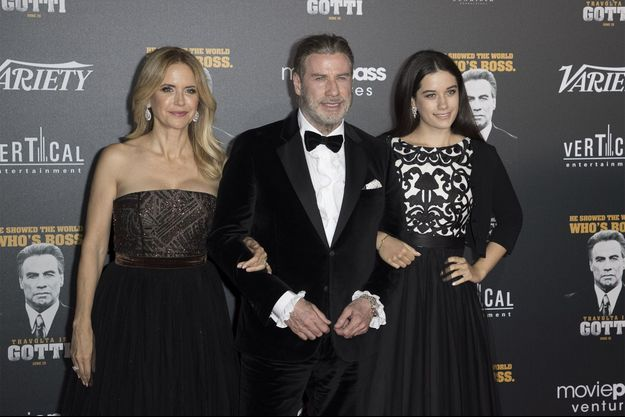 Kelly Preston, John Travolta et leur fille Ella en 2018 à Cannes.