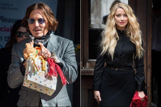 Johnny Depp et Amber Heard à Londres le 28 juillet 2020