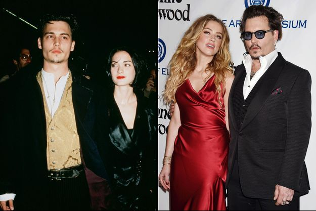 Johnny Depp : avec Winona Ryder en 1992 et Amber Heard en 2016
