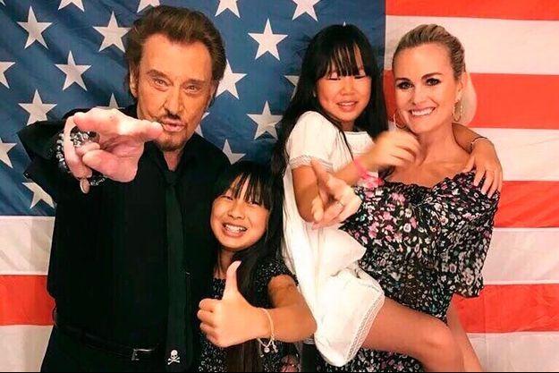 Johnny Hallyday, Laeticia et leurs deux filles Jade et Joy