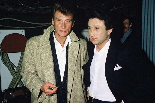 Michel Drucker et Johnny Hallyday en 1986.