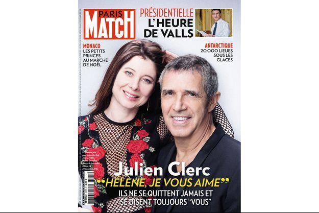 Julien Clerc et la romancière Hélène Grémillon en une de Paris Match.