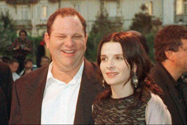 Harvey Weinstein et Juliette Binoche lors du Festival de Deauville en 1998.