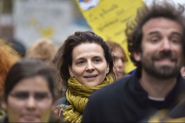 Juliette Binoche à la marche pour le climat, à Paris samedi.
