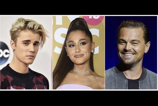 Justin Bieber, Ariana Grande et Leonardo DiCaprio.