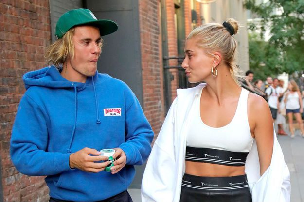 Justin Bieber et Hailey (Baldwin) Bieber à New York, le 12 juillet 2018