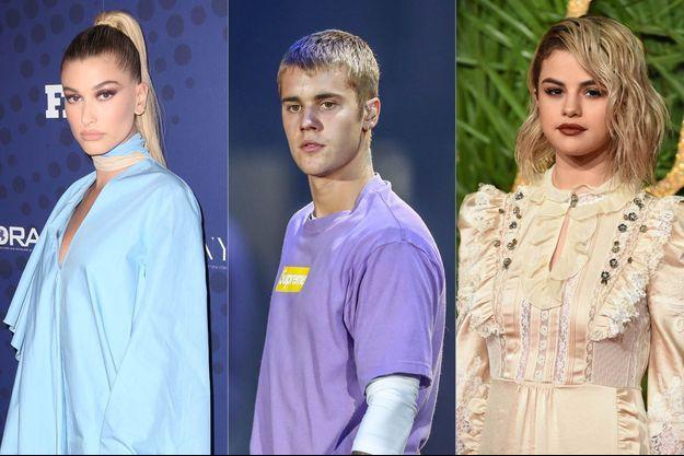 Hailey Baldwin, Justin Bieber et Selena Gomez.