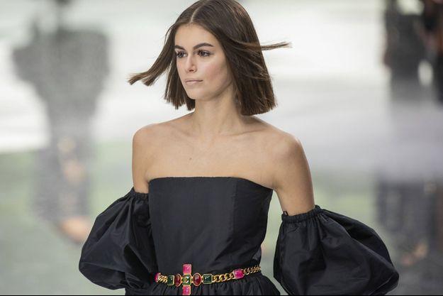 Kaia Gerber en mars 2020, à Paris.