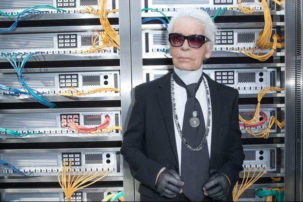 Karl Lagerfeld au défilé Chanel au Grand Palais, 4 octobre 2016