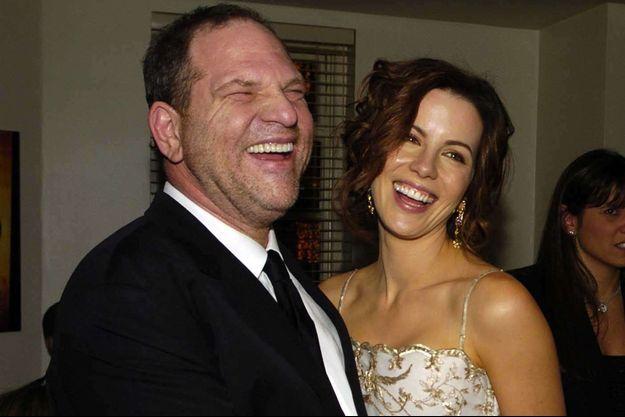 "Harvey Weinstein et Kate Beckinsale à l'avant-première londonienne du film ""The Aviator"" en 2004"