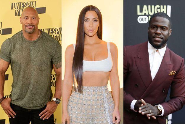 Dwayne Johnson, Kim Kardashian et Kevin Hart.