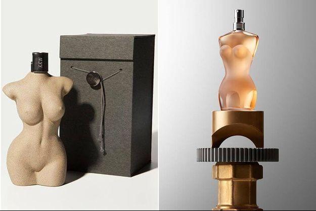 D'un côté KKW Body de Kim Kardashian, de l'autre Le Classique de Jean-Paul Gaultier.