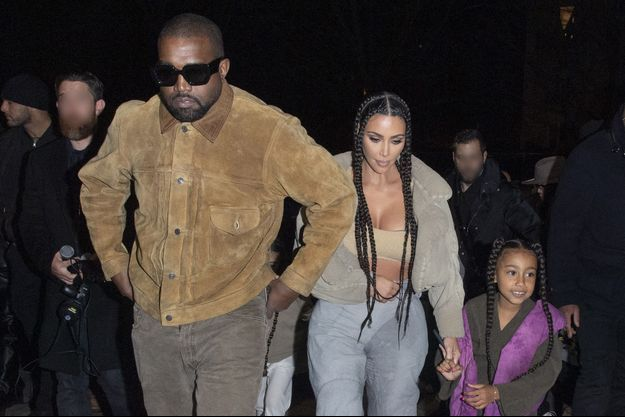 Kanye West, Kim Kardashian et leur fille North à Paris en mars 2020