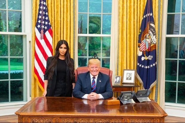 Kim Kardashian et Donald Trump à la Maison Blanche le 30 mai 2018