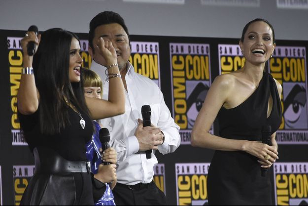 Angelina Jolie et Salma Hayek en 2019 à la Comic-Con de San Diego.