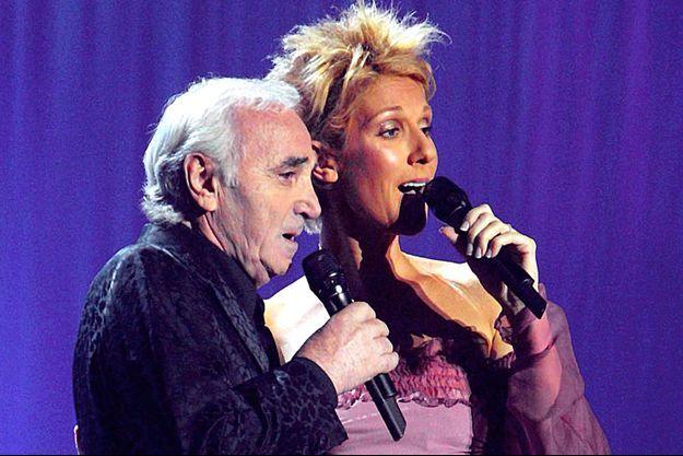 Charles Azanvour et Céline Dion en 2003 à Las Vegas