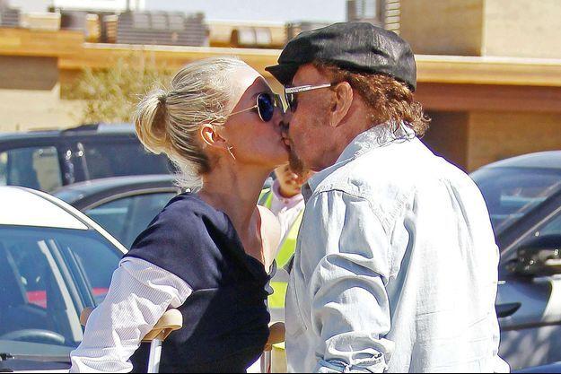 Laeticia Hallyday et Johnny Hallyday à Malibu, le 9 mars 2017.