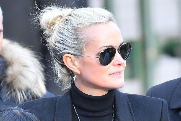 Laeticia Hallyday à la Madeleine le 9 décembre 2017.