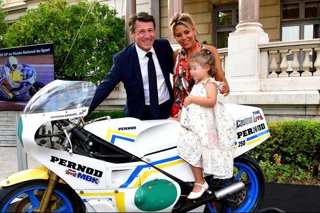 Christian Estrosi, Laura Tenoudji et leur fille Bianca à Nice le 31 juillet 2020