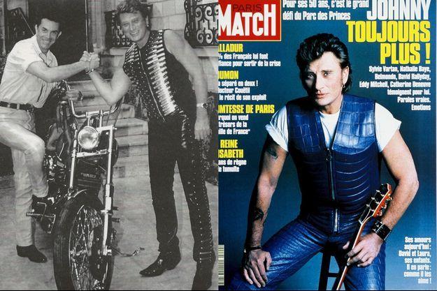 A gauche, Johnny Hallyday avec Jean-Claude Jitrois, à droite la couverture de Paris Match avec Johnny Hallyday qui porte une veste du créateur.