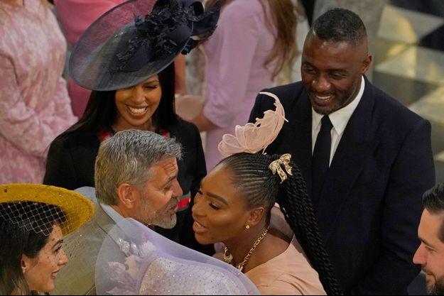 George Clooney, Serena Williams et Idris Elba au mariage du prince Harry et de Meghan Markle, le 19 mai.