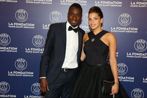 Blaise Matuidi et Isabelle Malice, au Dîner de gala au profit de la Fondation PSG au Parc des Princes à Paris, le 16 mai 2017.