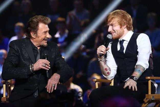 Johnny Hallyday et Ed Sheeran le 20 décembre 2014 à Paris.